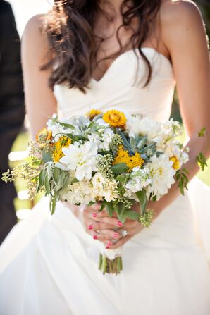 White Dahlia and Succulent Bouquet