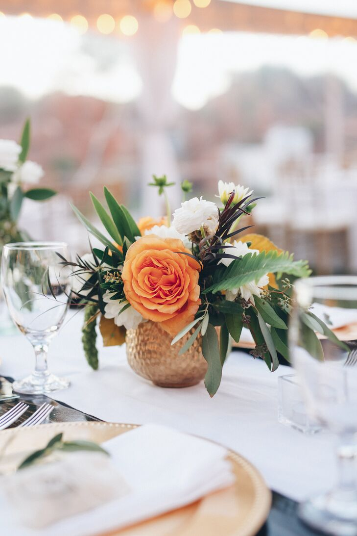 One large bright flower really stands out in a simple centerpiece.