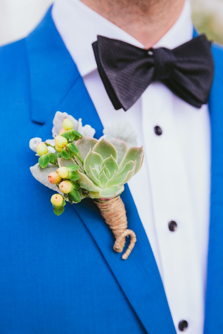 Succulent and Hypericum Berry Boutonniere