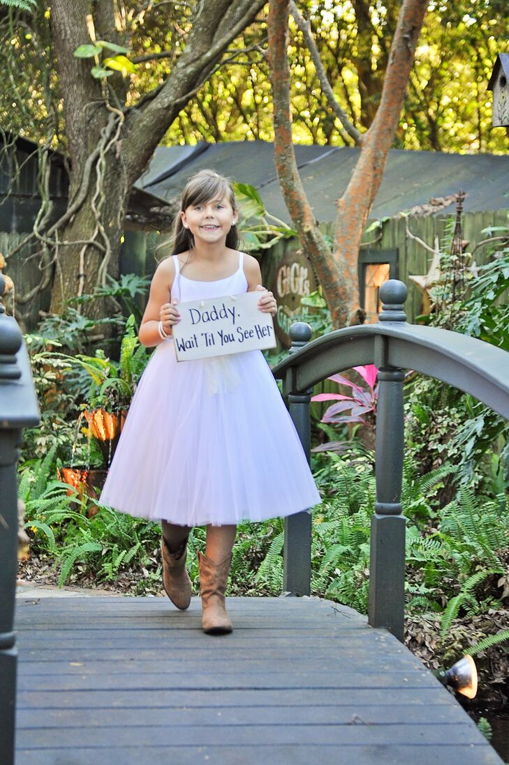 Neutral Leather Flower Girl Cowboy Boots
