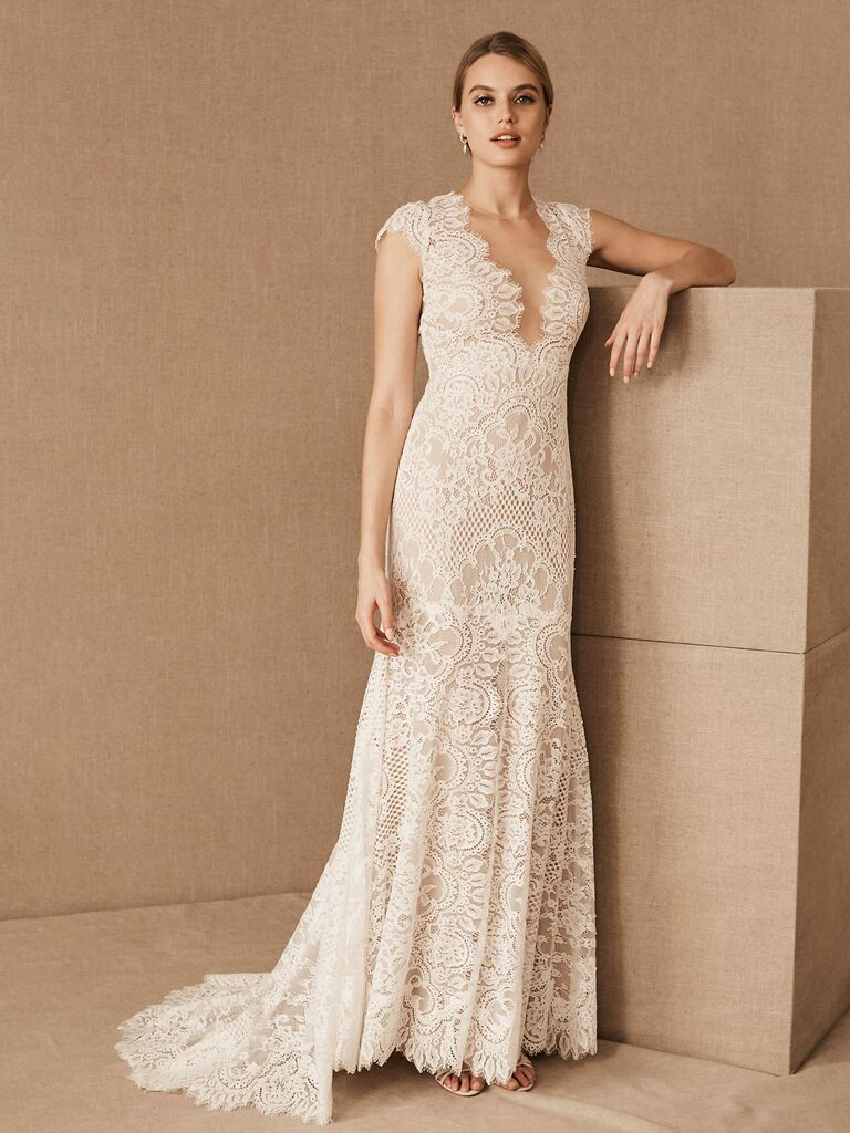 corded lace sheath gown with plunging illusion neckline