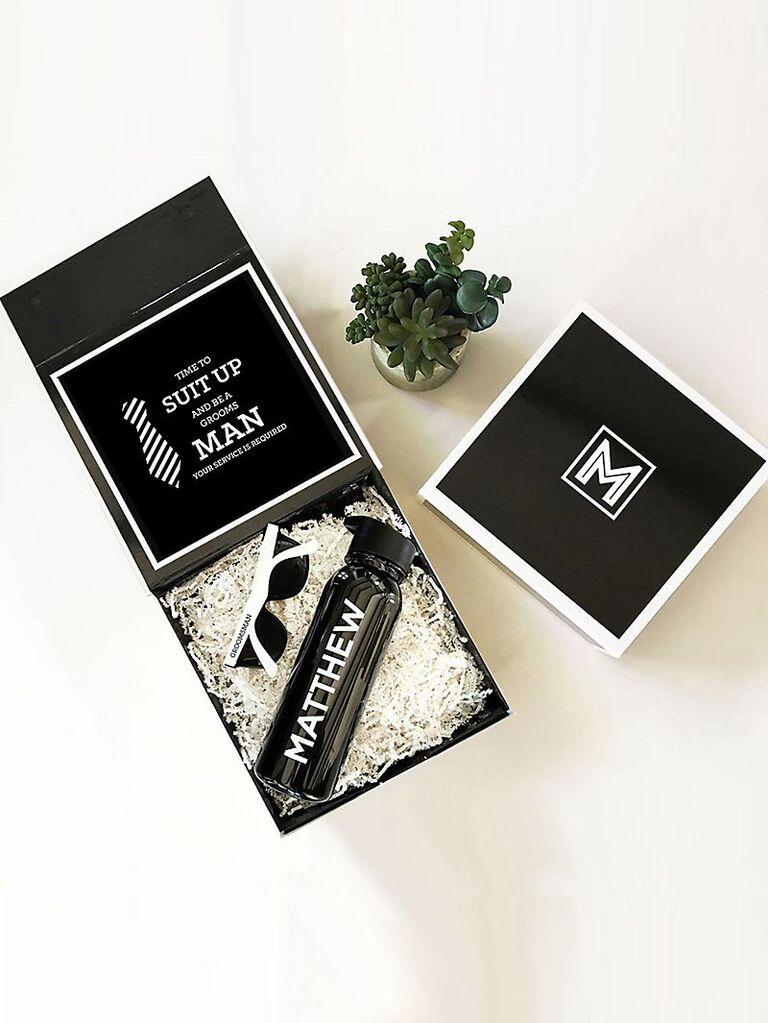 Custom monogram groomsmen gift box