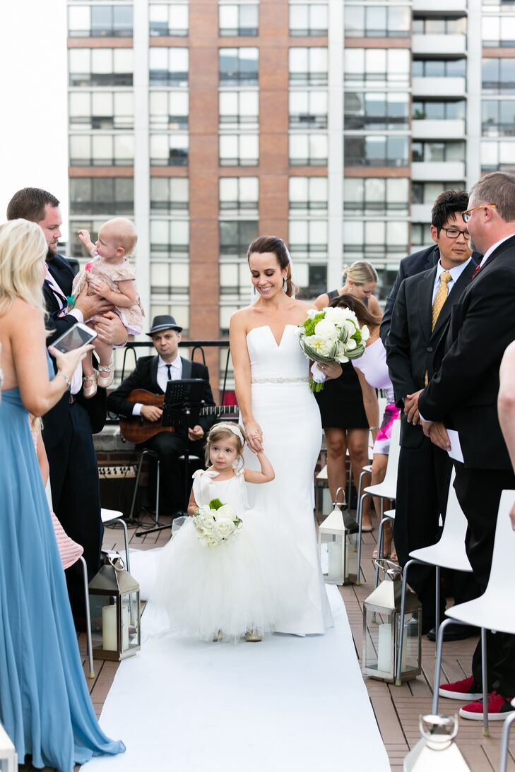 Elegant Bride and Flower Girl Walk Down the Aisle Together