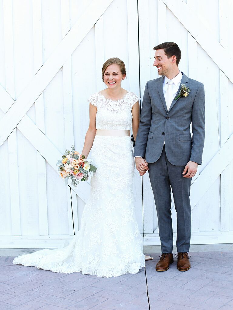 Bride In Lace Wedding Dress Groom Gray Suit