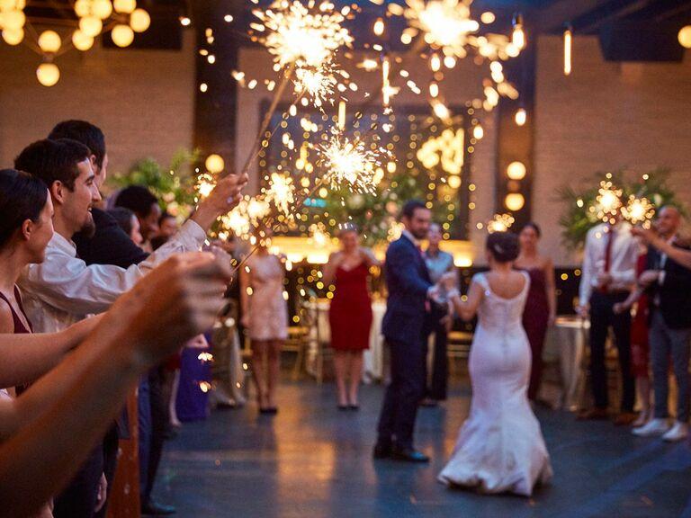 Sparklers at wedding