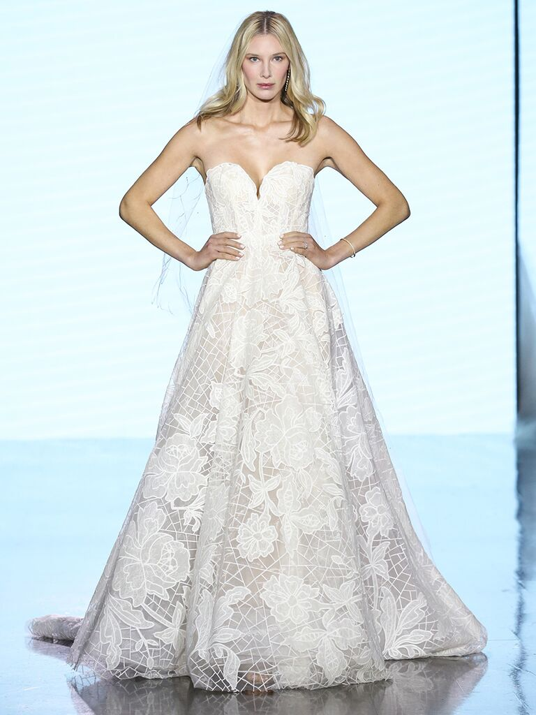 Watters wedding dress strapless lace ball gown