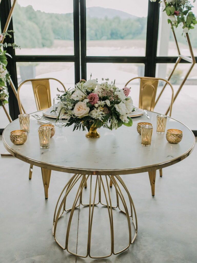most popular wedding colors gold tables and chairs