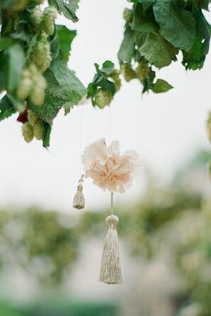 Hanging Carnation and Tassles on Hops-Covered Mandap
