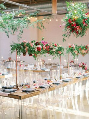 Suspended Reception Table Centerpieces at Skylight in Denver, Colorado