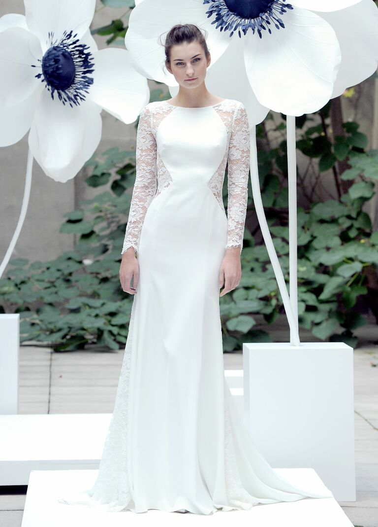 Lela Rose the loung wedding dress with lace cut out details