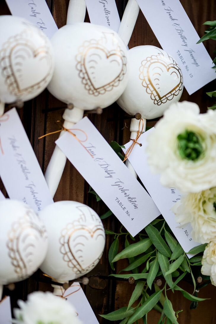 Gold and Ivory Heart Maracas Escort Cards