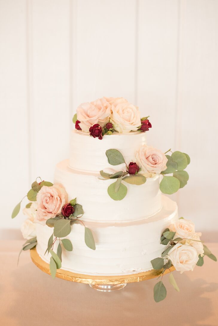 Romantic White Buttercream Cake with Roses