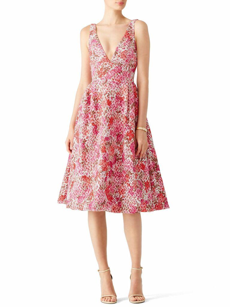 Pink tea length ML Monique Lhuillier spring bridesmaid dress