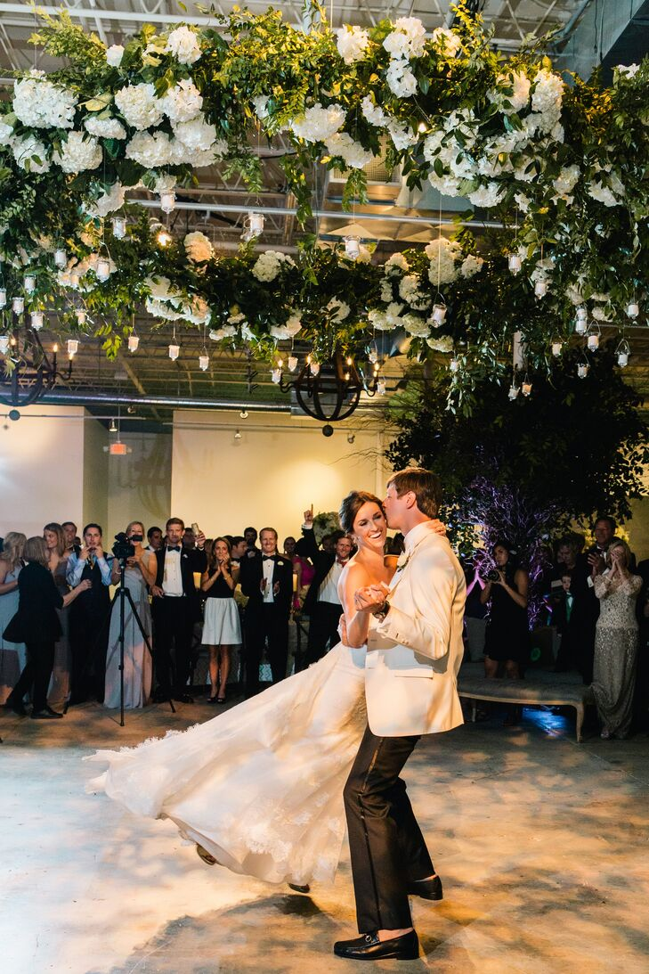 Jackson Durham created the bold, floral chandelier that hung over the dance floor at the reception as a statement piece.