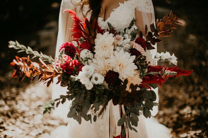 Large Autumnal Bouquet of Café au Lait Dahlias, Eucalyptus and Red Amaranth