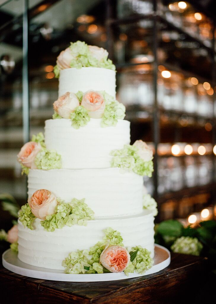 Buttercream Wedding Cake with Garden Roses and Hydrangea