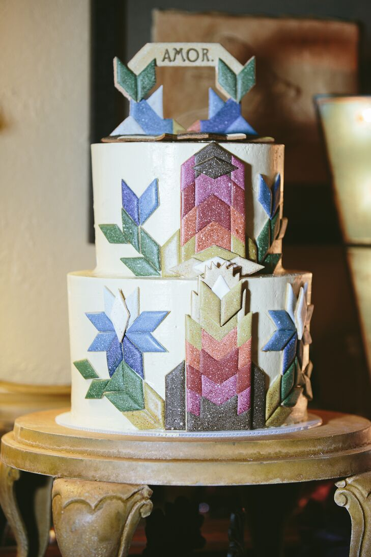 Colorful Geometric Tile Themed Cake