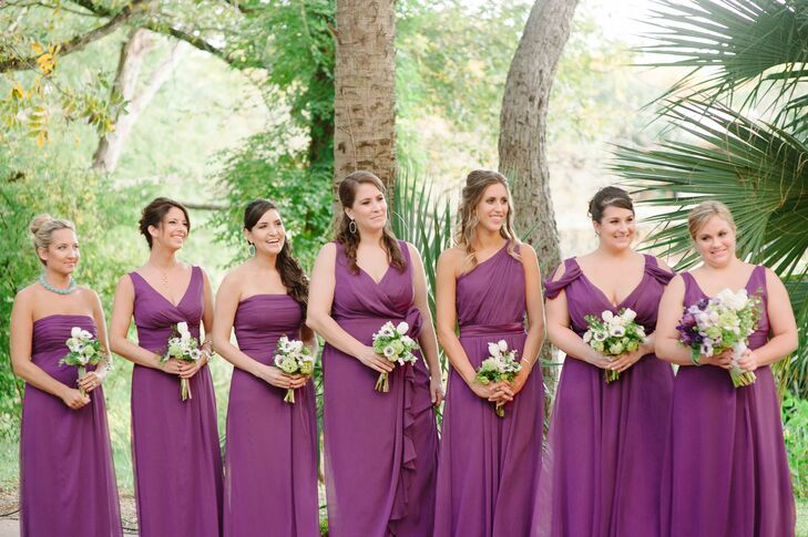 Jessica chose the color and fabric for their dresses but let each bridesmaid choose her own style.
