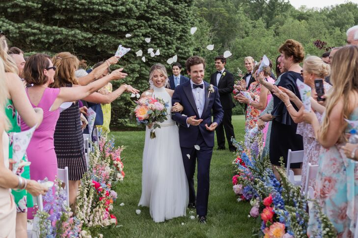 Elegant Recessional with Petal Toss at The French House in Cincinnati, Ohio