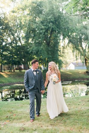 Ivory Silk Chiffon Wedding Dress