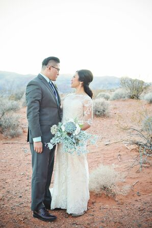 Succulent Bridal Bouquet Vintage-Inspired Desert Wedding