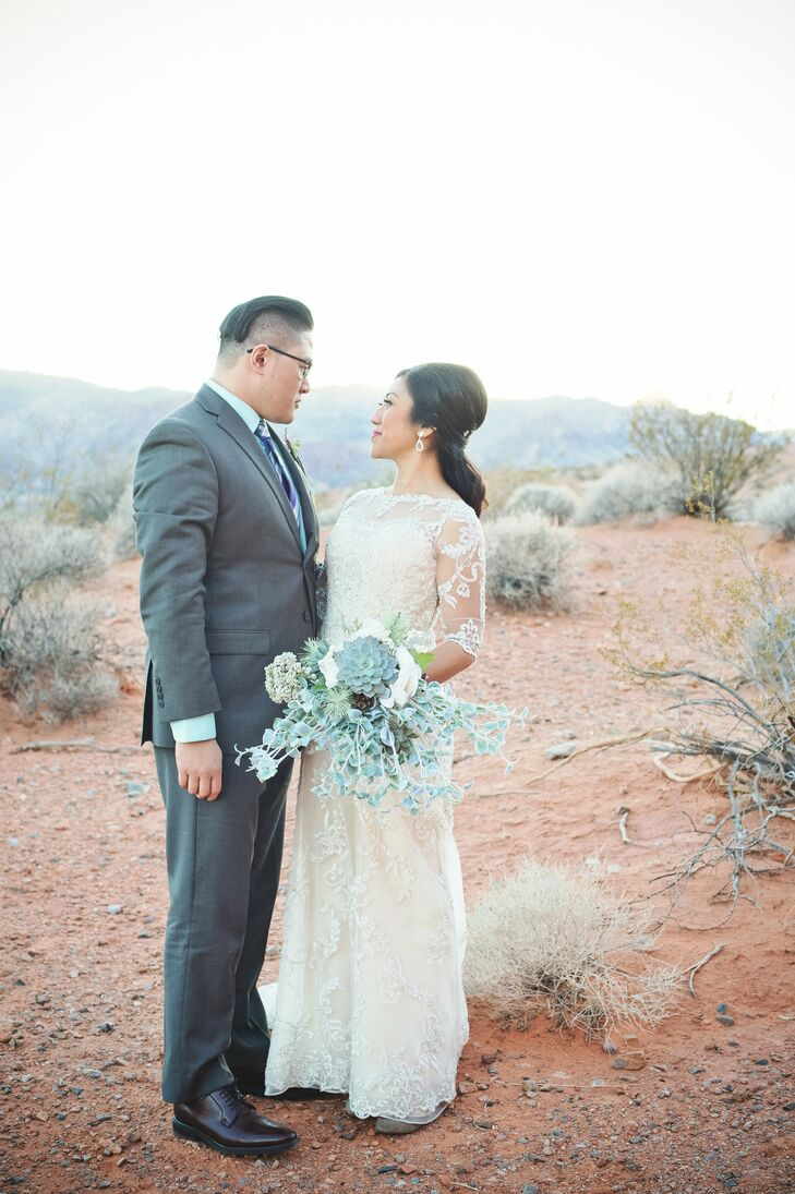 """""""The bouquets and boutonnieres have special meaning to us because they were made by our family members and they are unique,"""" Genesis says. """"The cabbage, kale and succulents were all handpicked at a local nursery and put together by loved ones."""""""