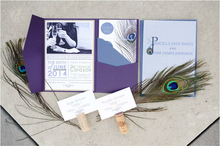 The bride (a graphic designer) made the invitations herself through supplies from Cards and Pockets. She created a wedding logo that the bride and groom used on the invitations, escort cards and programs.