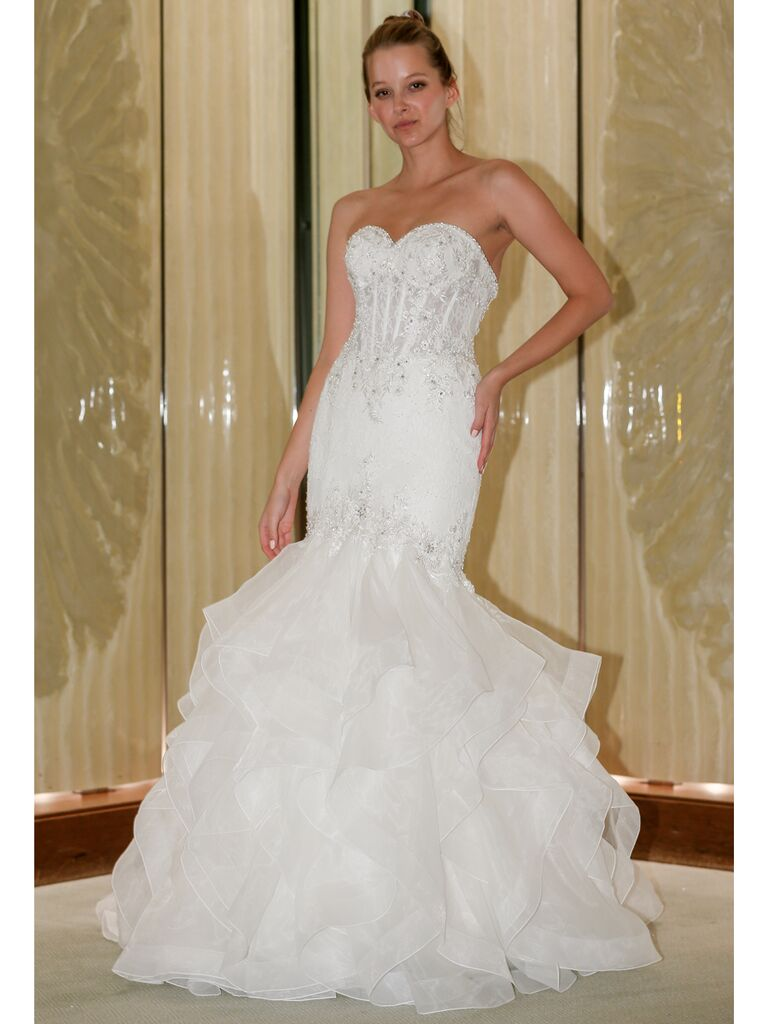Randy Fenoli Fall 2019 Bridal Collection mermaid wedding dress with dramatic ruffled tiered skirt and sweetheart neckline