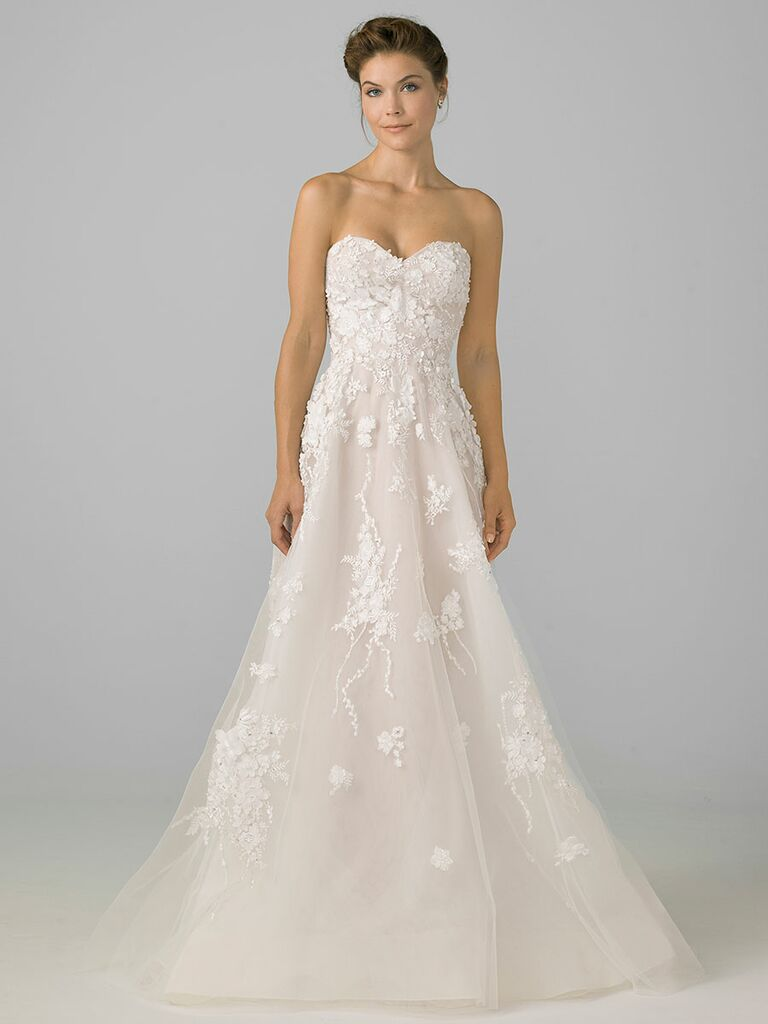 Azul by Liancarlo Fall 2018 wedding dresses strapless with floral appliqués