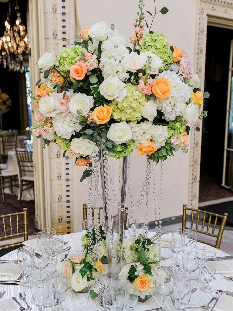 Crystal wedding centerpiece with flowers