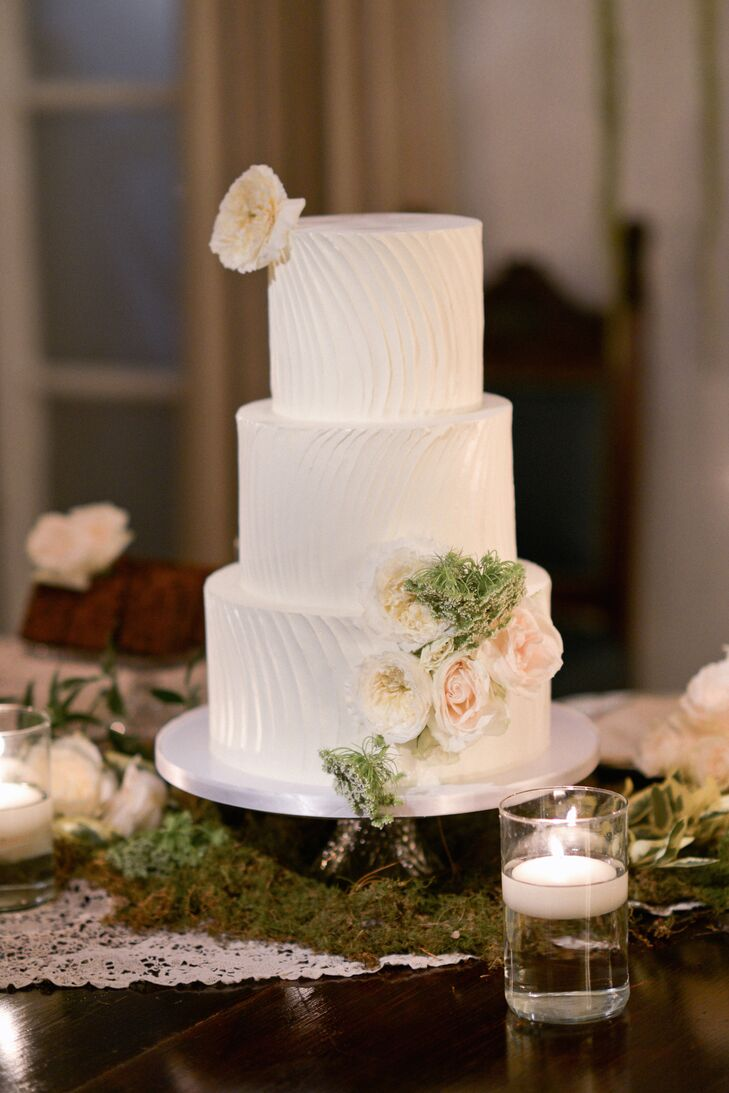Wedding Cake with Waved Buttercream and Fresh Flowers