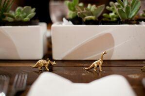 Gold Dinosaur Table Decor
