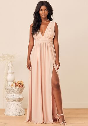 Lulus Heavenly Hues Blush Maxi Dress V-Neck Bridesmaid Dress
