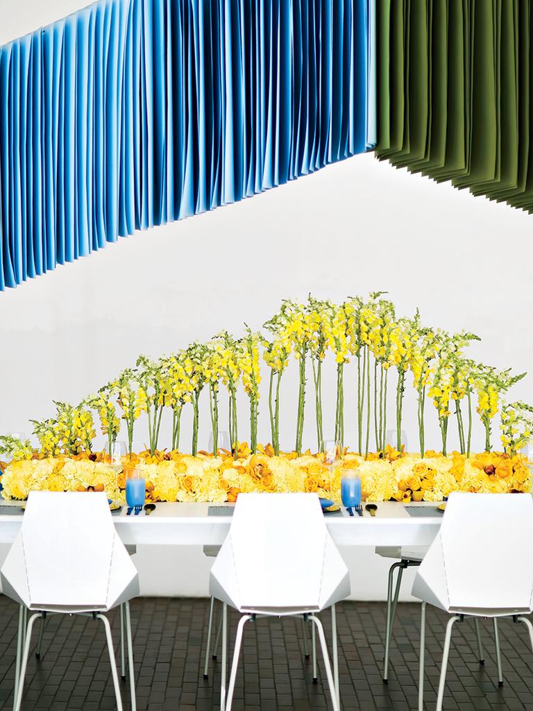 Dine Under Design hanging installation modern wedding detail