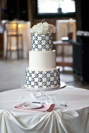 White and Navy Wedding Cake