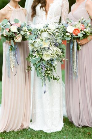 Cascading Bouquets Wrapped in Ribbon