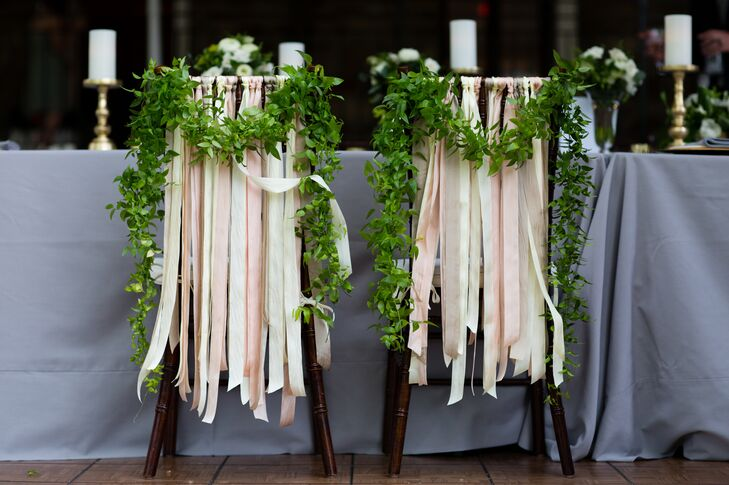 Whimsical Ribbon and Garland Chair Decorations