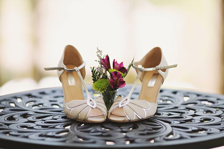 Vintage-Inspired T-Strap Wedding Shoes