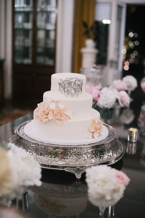 White Wedding Cake with Cake Flowers and Silver Monogram