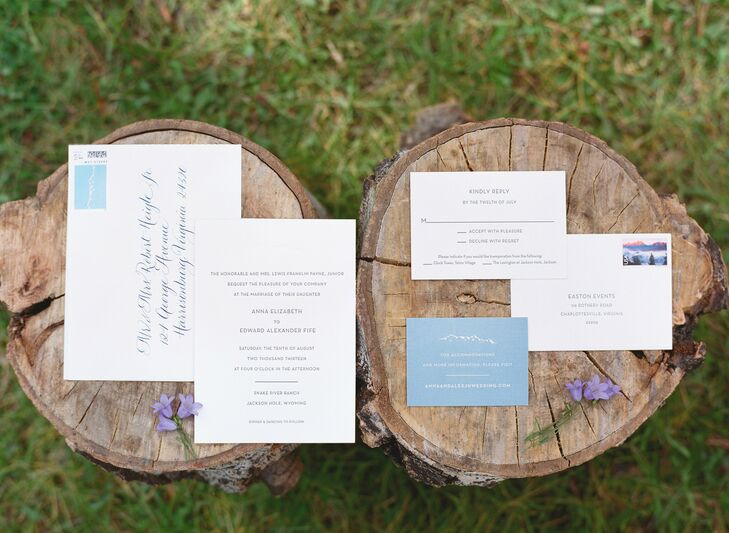 The simple, white invitations had a subtle outline of the Grand Teton mountains. The design was carried throughout the wedding stationery.
