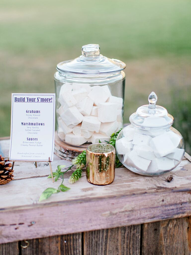 Interactive wedding food station smores idea