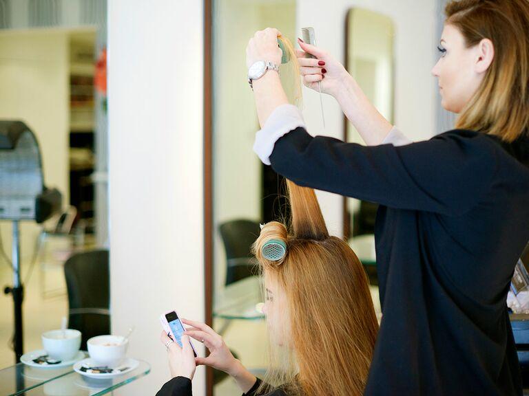 Woman having hair done in a salon