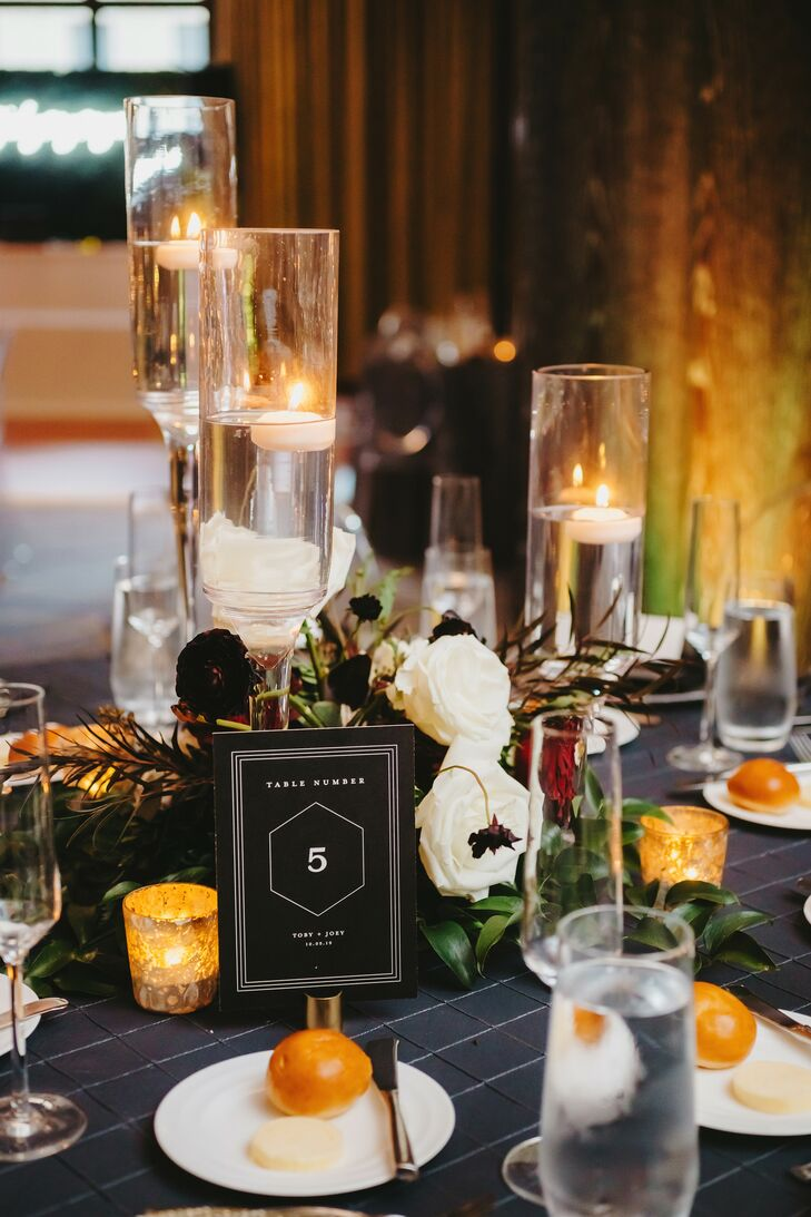 Modern Black-and-White Table Number