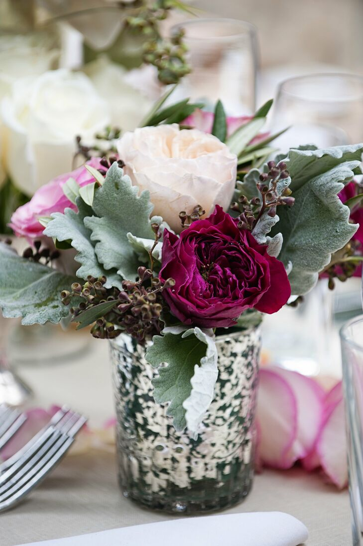Small Garden Rose and Dusty Miller Centerpieces