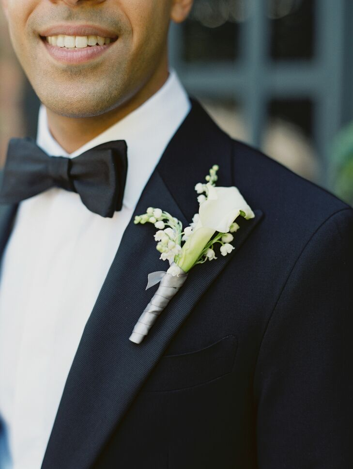 Calla Lily Boutonniere for Wedding at The Foundry in Long Island City, New York