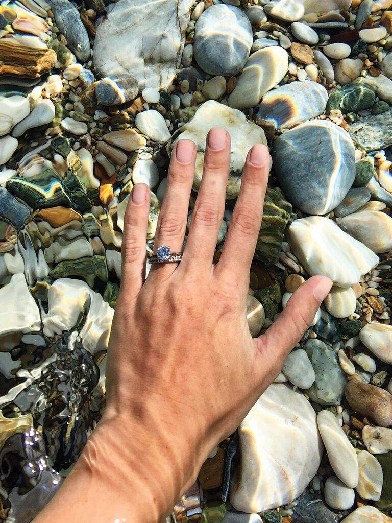 Engagement ring selfie idea underwater