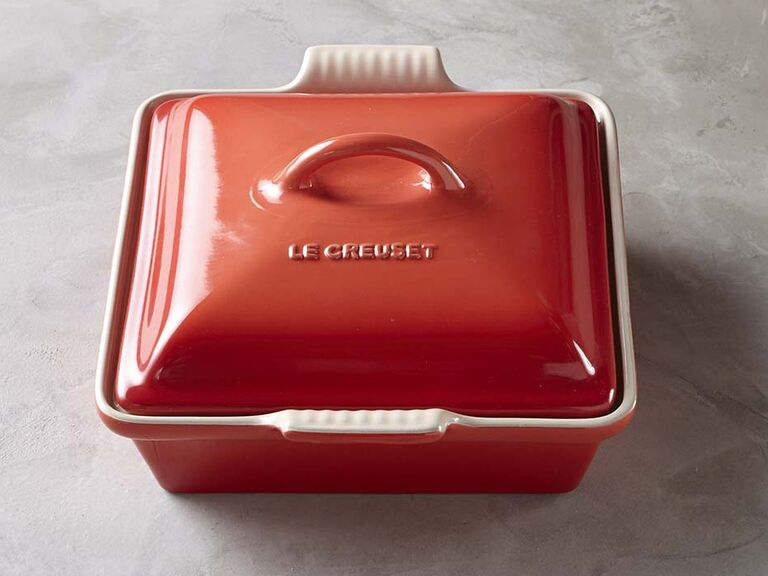 Coral stoneware covered baker