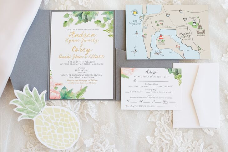 Posh Paperie helped the couple create floral-inspired stationery that honored Corey's Hawaiian roots with a cute pineapple. Posh Paperie also crafted the airplane cutouts used during the ceremony.