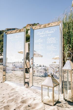 Mirror Seating Chart at Beach Wedding