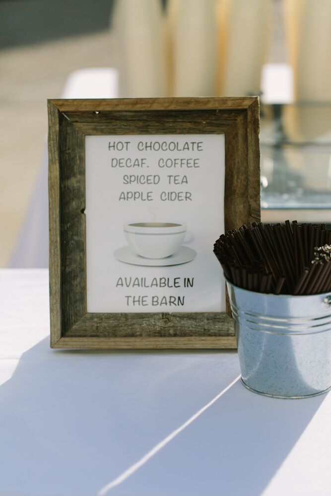 Hot chocolate, coffee, tea and cider were available for the guests during the reception. Tea spices were packaged in mason jars as favors.